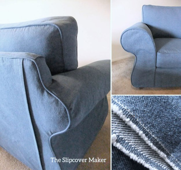 Chair slipcover in washed indigo blue denim