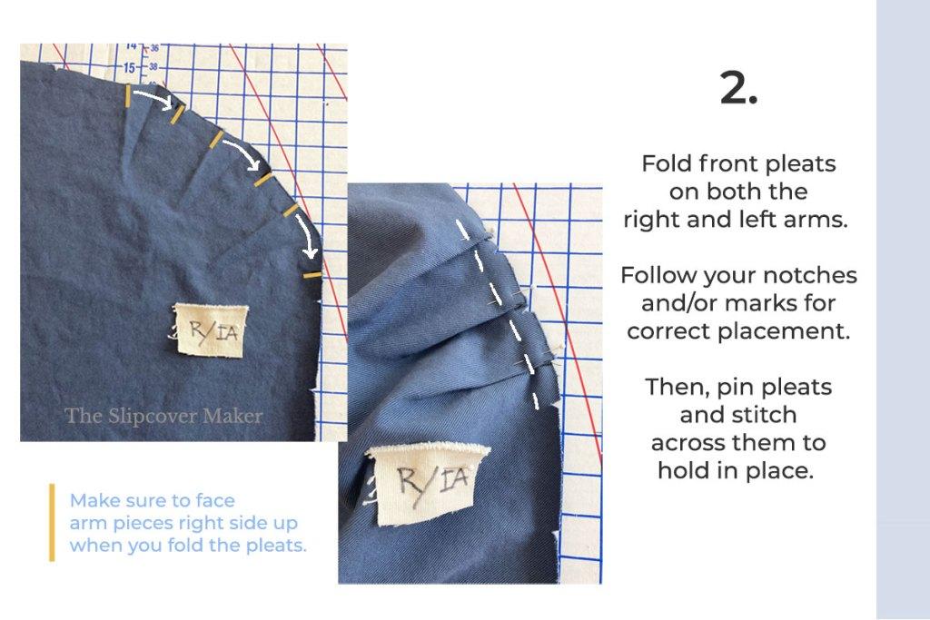 Pinned pleats on blue fabric.
