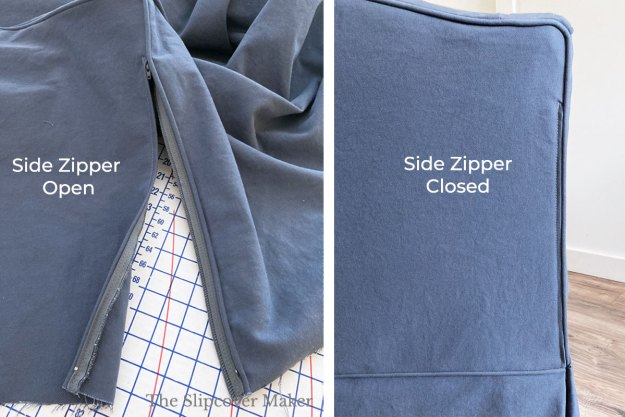 Blue denim slipcover zipper opened and closed.