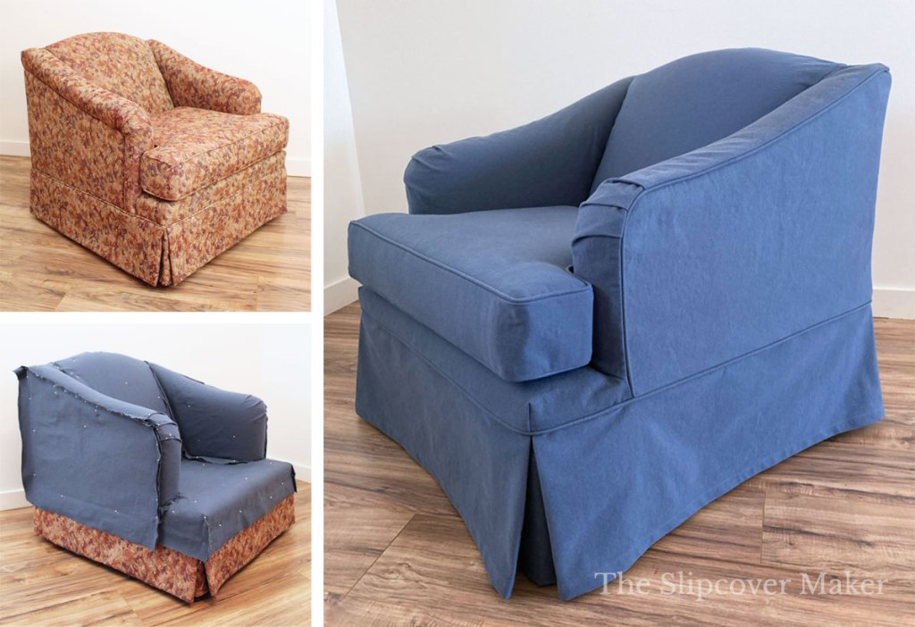English rolled arm chair before and after blue slipcover.