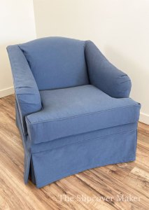 Blue denim slipcover on English Rolled Arm chair
