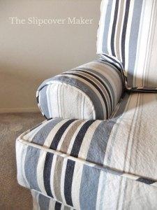 Blue and white stripe chair cushion.