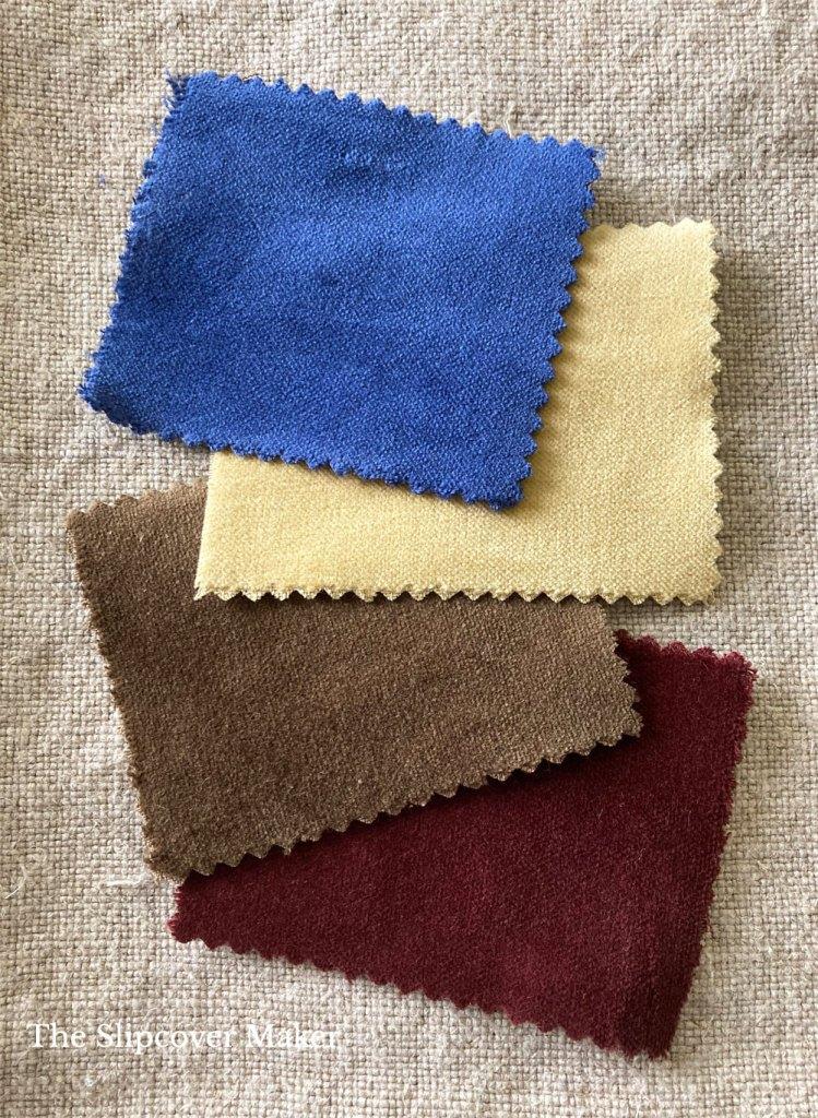 Velvet fabric swatches.