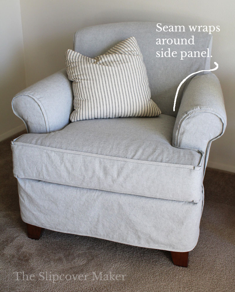 Light grey chair slipcover with pillow.