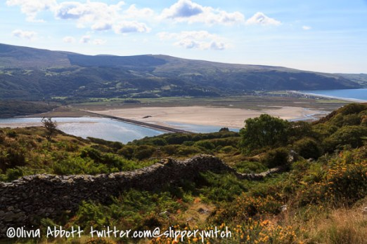 Looking across the Mawddach, the Barmouth railway bridge below