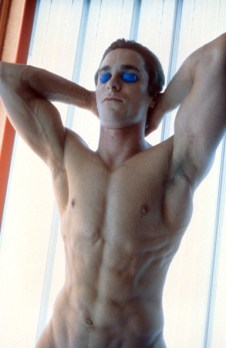 Christian Bale in tanning bed in a scene from the film 'American Psycho', 2000. (Photo by Lion's Gate/Getty Images)
