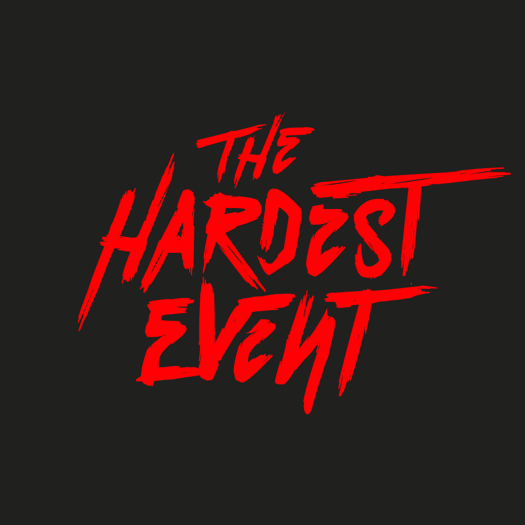 The hardest event, red design logo