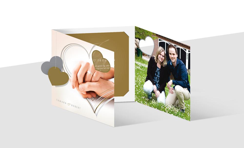 Luxe trouwkaart, grafisch ontwerp door Slize Oldenzaal