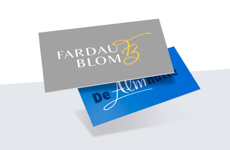Logo ontwerp Fardau Blom & De Almhutte. Ontwerpen door de grafisch ontwerper van Slize in Oldenzaal. Ook een logo laten ontwerpen?