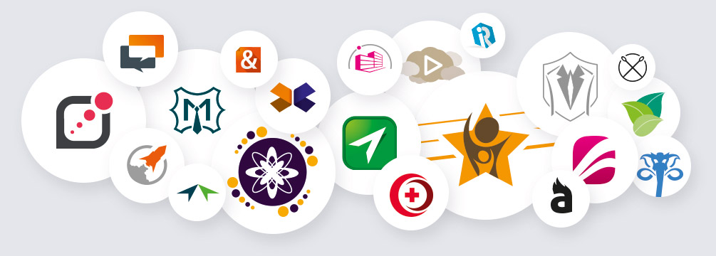 Logo ontwerp Slize - verzameling logo's in cirkels