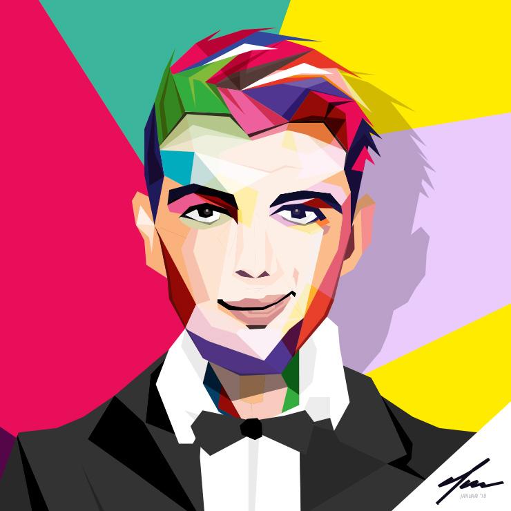 Colorful WPAP portrait | illustrator drawing Slize Oldenzaal