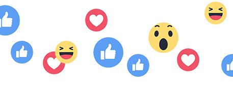 social emoji - likes, hearts, thumb up, shocked, laugh