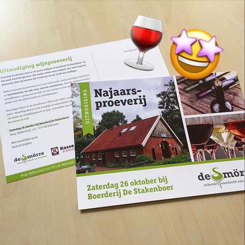 Uitnodiging wijnproeverij De Smörre - Drukwerk Oldenzaal