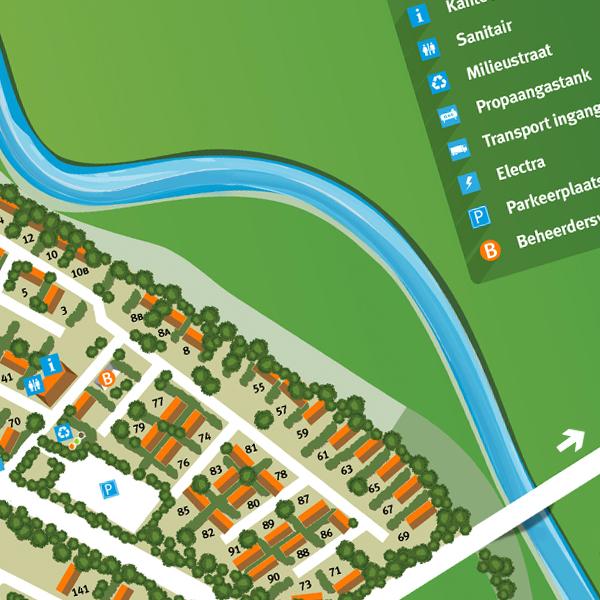 Nieuw stuk plattegrond tekenen | Haaksbergen: grafisch bewerken en tekenen plattegrond vakantiepark - Illustrator DTP werk