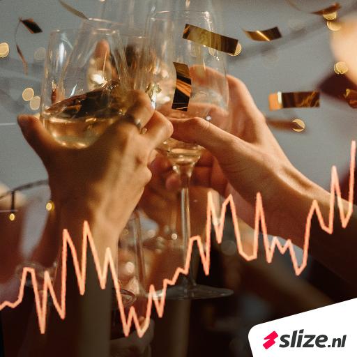 Nieuwe website records | Knallend het nieuwe jaar in, een goed begin van 2020 (champagne met grafiek afbeelding)