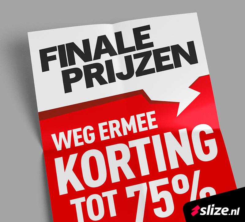 Knal rode poster met finale prijzen. Drukwerk voor Ultimo Mode in Oldenzaal. Realisatie van de print, DTP en vormgeving.