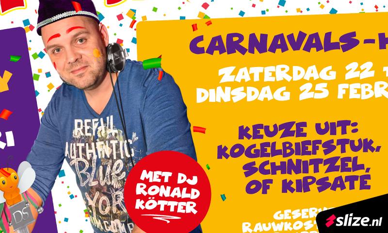 Carnaval optocht afterparty Denekamp. Spandoek maken voor de optocht afterparty bij Hotel De Schout en Restaurant Oosth.