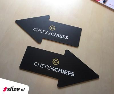 Bedrukte borden - Pijlen links en rechts   Chefs & Chiefs bewegwijzering