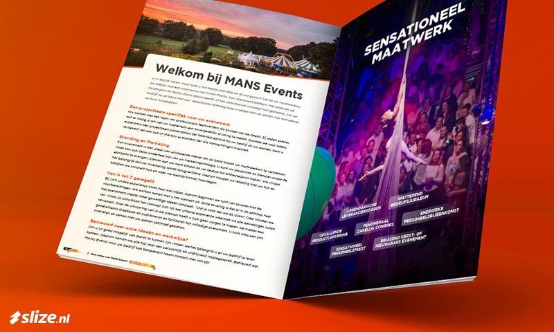 Brochure opmaken en ontwerpen voor MANS Events in Oldenzaal