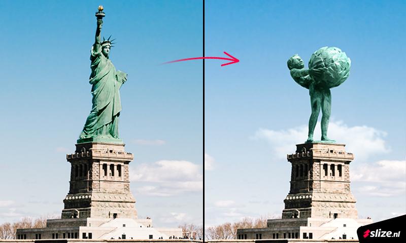 Een campagne beeld Photoshoppen, het Oldenzaalse Boeskoolmenneke in New York