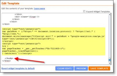 blogger google analytics code 2