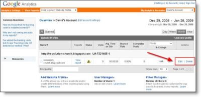 Google Analytics Blogger Dashboard Edit