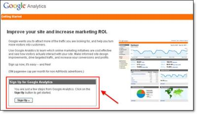 Google Analytics Blogger Sign Up Step 1