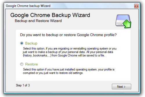 Google Chrome Backup Wizard