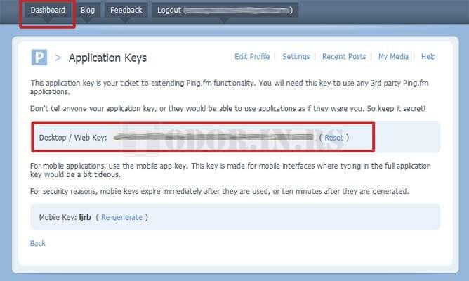 Ping.FM API Key