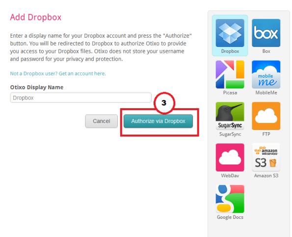 Dodavanje Dropbox u Otixo