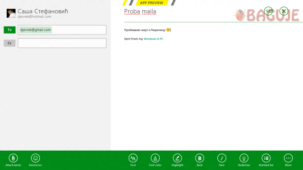 "Prikaz aplikacije ""Mail"" za slanje i primanje elektronske pošte"