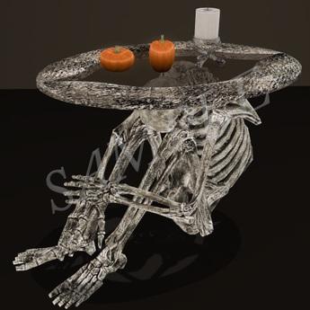 mesh halloween skeleton coffee table set