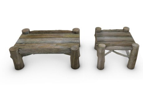 rustic log coffee table and end table