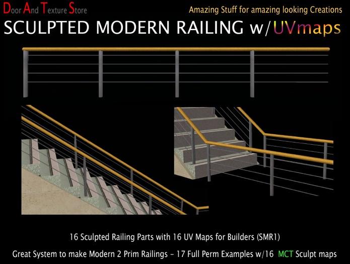 Second Life Marketplace Sale Sculpted Modern Railing Modern | Stair Rails For Sale | Interior | Steel | Iron Rail | Minimalist | Modern