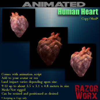 Second Life Marketplace Razor Worx Real Human Heart Boxed