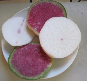 Watermelon radish and heart heart turnip sliced and ready to eat.