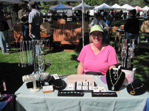 Helene of Designs by Helene, in her booth at Day in the Shade, 2011