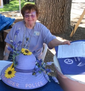Norma Moye Greets New Arrivals at 2011 Lavender Festival