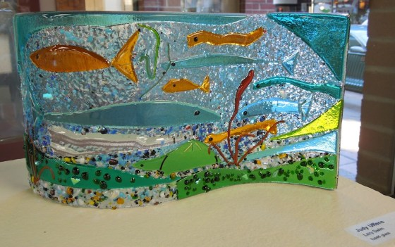 "Judy Uffens: ""Lazy Swim"" of fused glass."