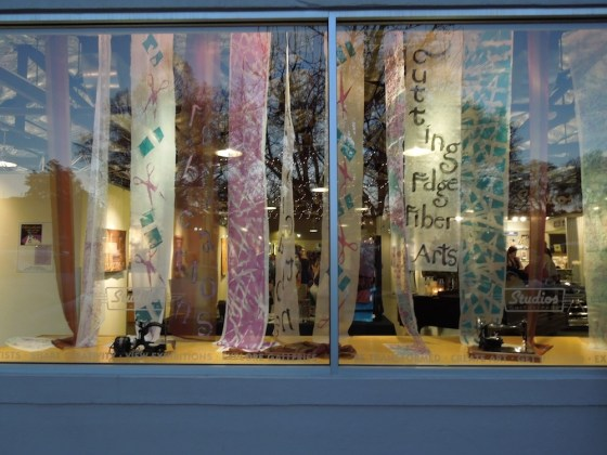 "Window at Studios on the Park for ""Fabrications: Cutting Edge Fiber Arts"""