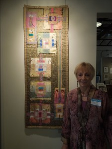 """Xandra Shaw with with her Art Quilt """"Ode to Albers."""""""