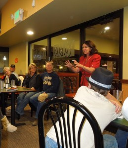 Debbie Arnold speaks to a group of citizens at Round Table in Atascadero