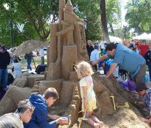 Children build sand castle at Paso Robles Festival of the Arts, 2012
