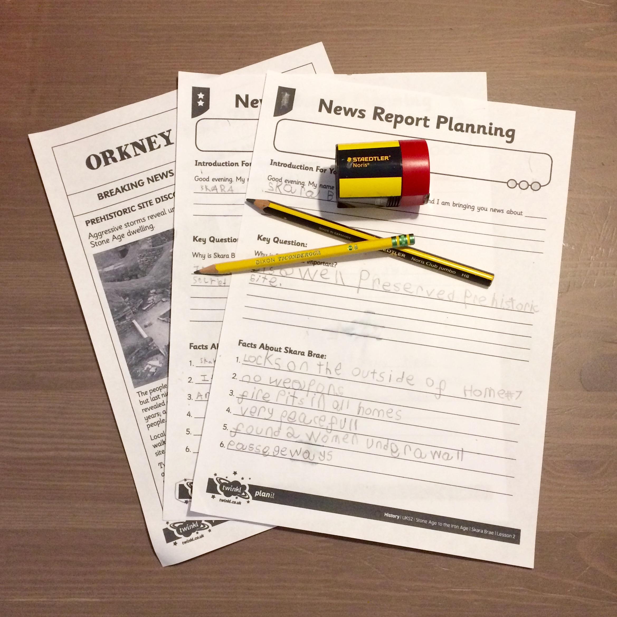Skara Brae Twinkl Planit News Report Worksheets