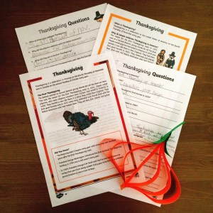 Worksheets and paper pumpkin for Thanksgiving 2016.