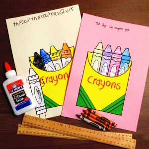 The Day The Crayons Quit artwork and school supplies.