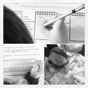 Worksheets and rice sand tray in action.
