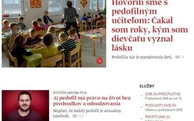 """Denník SME vstúpil do boja za normalizáciu pedofílie: """"Pedofil cíti skutočnú lásku k dieťaťu, chce mu byť prospešný; má právo na život bez predsudkov a odsudzovania."""""""