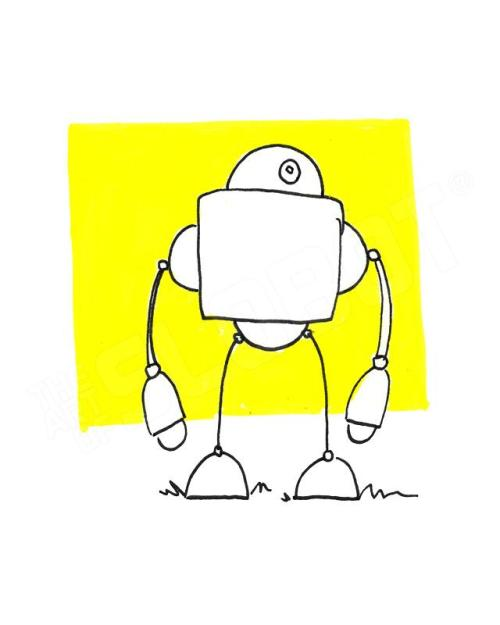 robot art print yellow robot artist mike slobot