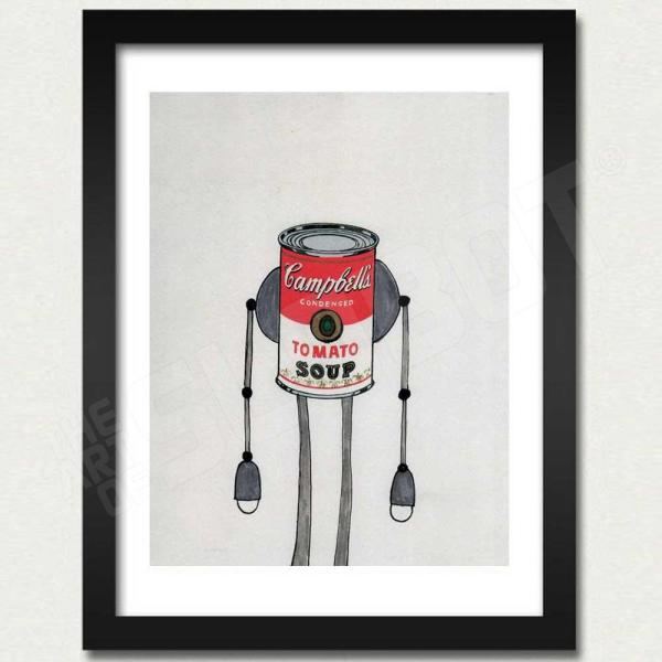 Mike Slobot Campbells Soup Warhol Robot Framed